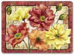 Hardboard Cork Backed 4 Table-Placemats  Foral Le Fleur Poppy