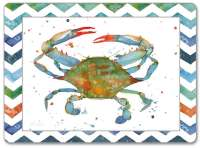4 Cork Backed Hardboard Placemats Coastal Crab Indigo Lagoon