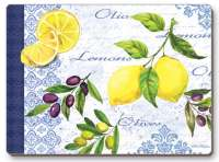 4 Cork Backed Hardboard Placemats Fruit-Lemons And Olives