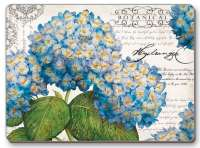 4 CorkBacked Hardboard Table-Placemats Floral Blue Hydrangeas