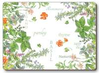 4 Cork Backed Hardboard Placemats Culinary Herbs
