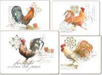 ~ 4 CorkBacked Hardboard Table-Placemats Modern Roosters