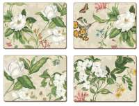~ 4 CorkBacked Hardboard Table-Placemats Foral Natural
