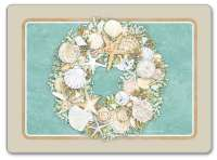 * 4 Beach Seashell Corkback TableMat/Placemats Coastal Wreath