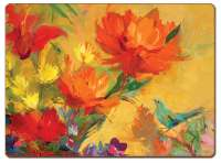 4 CorkBacked Hardboard Table-Placemats Floral Orange Blaze