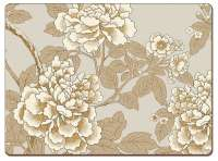 ~ 4 CorkBacked Hardboard Table-Placemats Golden Peonies