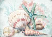 * 4 CorkBack Hardboard Table-Placemats Coastal Beach Shells