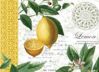 4 CorkBacked Hardboard Table-Placemats Fruit Lemons Olives