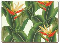 * CorkBacked Hardboard Table-Placemats Tropical Leaves Heliconia