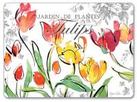 4 CorkBacked Hardboard Placemats Red Yellow Floral Tulips