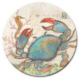 A Beach/Coastal Seaside/Blue Crab Lazysusan-Tempered Glass