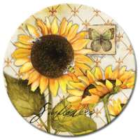 A Sunflowers In Bloom LazySusan Turntables - Tempered Glass