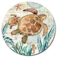 Monterey Bay Coastal Beach Decor Glass LazySusan Turntables