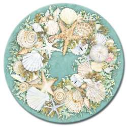 A Coastal Wreath Beach Seashells Glass LazySusan Turntables