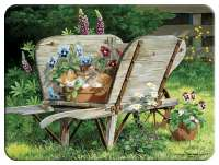 Glass Cuttingboard Serving Tray  Garden Bench Cat nap