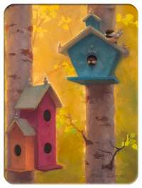 Glass Cuttingboard Serving Tray  Wildlife Birdhouses