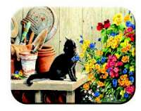Country Floral Gardener Cat Glass Cuttingboard Serving Tray