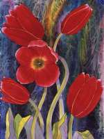 Red Tulips - Floral Theme Glass Cuttingboard Serving Tray