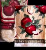 7 pc Cotton Kitchen Towel-Mitt-Potholder Set - Country Apples