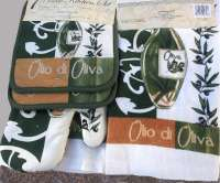 7 pc Cotton Kitchen Towel-Mitt-Potholder Set - Tuscan Olive