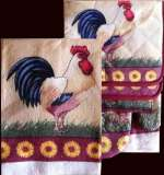 7 pc Kitchen Towel Set Country Rooster Sunflower