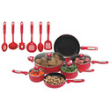 . 16pc Apple Red Heavy Aluminum Nonstick Cookware