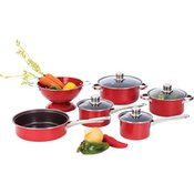 Apple Red Cookware 10pc Set W/ Glass Lid