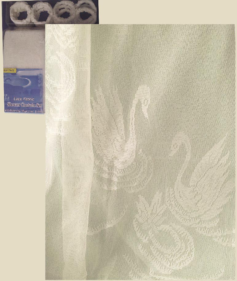 A Classic Champagne Swan Shower Curtain Washable Lace