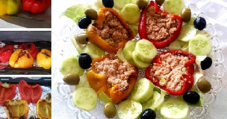 Low-Carb Salad-Stuffed Roast Peppers